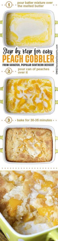 There are three reasons why this fantastic Peach Cobbler can become one of your . There are three reasons why this fantastic Peach Cobbler can become one of your favorite recipes – it's super tasty, super simple and super awesome. Easy Desserts, Dessert Recipes, Southern Desserts, Breakfast Recipes, Peach Cobblers, How Sweet Eats, Chocolate Desserts, Sweet Recipes, Poor Mans Recipes