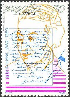 Sello postal en España.  Gabriela Mistral