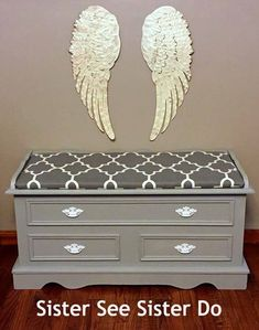 Hope chest painted gray and white