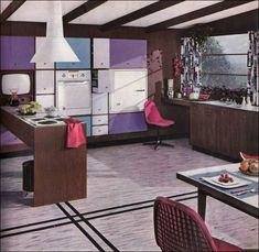 1956 Armstrong Mondrian-style Kitchen.  Mondrian paintings were an avant garde statement during the 1930s. For the majority of American homeowners, modern design was a feature of the 1950s. Leary of faddish designs at first, it took a new post-War generation to embrace the new style.