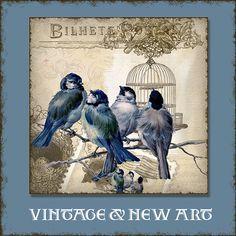 INSTANT DOWNLOAD Vintage Love Birds 3 inch Square Collages AJR-356A blue birds branch stamp postage postcard bird cage birdcage nest eggs