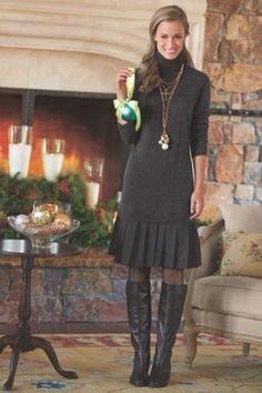SOFT SURROUNDINGS Gray Turtleneck CHLOE Sweater  Dress Size L $98 #softsurroundings #SweaterDress #Casual