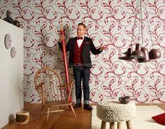 Contzen 4 955254 Papel de Parede Vinílico Lavável Abstrato Branco, Cinza Claro, Vermelho