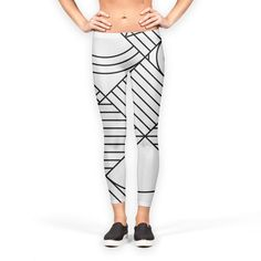 'Whackadoodle BW' Leggings by fimbis on miPic  ____________________________ geometric, black and white, monochrome, fashion, fashionista, style, inspiration, minimal, art, yoga, inspiration, health and fitness, fitfam, exercise,
