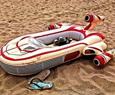 This Star Wars Landspeeder has it all. It's very spatious, accomodating two Jedi masters, a R2 droid unit and 3PO-series protocol droid. Never again will you and your comrades in arms will have to traverse the dunes of Mos Eisley as this speeder can tackle all that is thrown at it. Whether your heading to the Cantina to catch the band or cruising through Storm Trooper checkpoints, you'll be certain you're doing it in style. Just make sure t ..