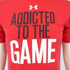 Under Armour Men's Size Medium Regular Red Addicted to the game cotton T-shirt #Underarmour #GraphicTee