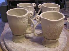 Latte Cups in progress, Fine Mess Pottery