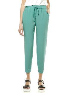 Green Drawstring Waist Pants with Zip Calf - Fashion Clothing, Latest Street Fashion At Abaday.com