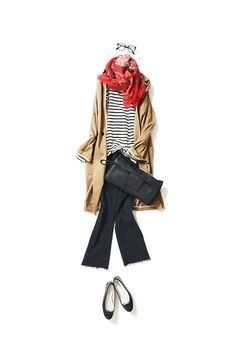 Casual Fall Stripes, camel cardigan, red scarf