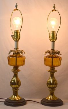Pair of Mid Century Amber Glass and Brass Table Lamps FREE SHIPPING