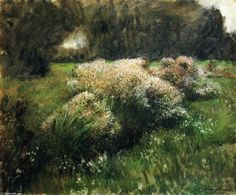 """""""Wild Asters, Study"""", Oil On Canvas by Dennis Miller Bunker (1861-1890, United States)"""