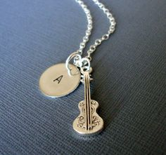 Silver Classical Guitar Charm Necklace with hand by lucindascharms, $16.50