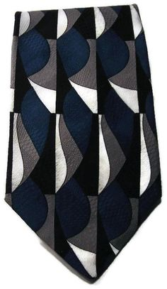 Surrey Blue Silver Black White Geometric Tie Classic Necktie in Clothing, Shoes & Accessories, Men's Accessories, Ties | eBay
