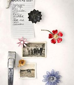 Instead of letting vintage brooches gather dust in your jewelry box, turn them into refrigerator magnets!
