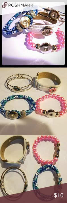 Snap Bead Charm Bracelets Lot New Sale! Get it at this price while you can! Lot of 4 Snap Style Charms Bracelets. All are new! You will receive the exact ones shown. Check out my listings of charms!  Items are in Euc (unless stated) They have no holes, stains, pulls, worn/fuzzy look. They look next to new! Smoke free & freshly washed! I don't sell junk! I may be a new seller but I have over 20 years experience in resale.  I gladly bundle for a Better price! Check back as I'll be adding alot…