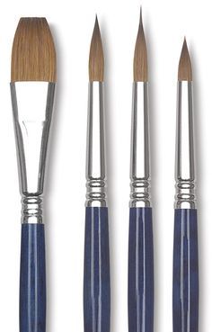 Shop Escoda Optimo Kolinsky Sable Watercolor Brushes at Blick. The snappy pristine Kolinsky hair is delicately hand crimped into a nickel brass ferrule. Watercolor Brushes, Paint Brushes, Watercolor Paintings, Watercolours, Painting Tools, Drawing Tools, Project Online, Artist Supplies, Watercolor Techniques