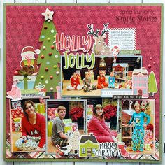 Holly Jolly *Simple Stories Holly Jolly* : Gallery : A Cherry On Top Christmas Morning, Winter Christmas, Christmas Cards, Christmas Layout, Christmas Ideas, Xmas, Christmas Tree, Christmas Scrapbook Layouts, Scrapbooking Layouts