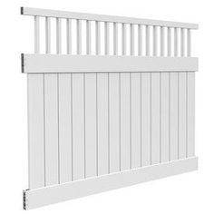 FREEDOM�Contractor Bristol White Flat-Top Semi-Privacy Vinyl Fence Panel (Common: 72-in x 8-ft; Actual: 72-in x 91-ft)