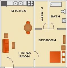 Our 1 Bedroom, 1 bathroom includes a standard bedroom area with attached bath, and a counter separating the kitchen from the living room in the common area. A great spot for a quick breakfast or to seat guest while entertaining and is 440 sq. ft.