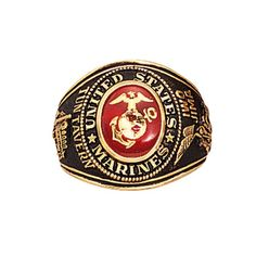 A stylish and dignified way to display your American Military pride, this U. Marines ring, made of solid brass, is stunningly detailed with the military insignia design etched in gold. Available in sizes Manado, Military Surplus, Military Men, Us Navy, World Of Warcraft, Usmc Ring, Marine Corps Rings, Special Forces Army, Bracelets