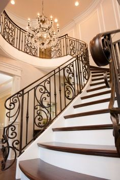 Want to find proposal for a good foyer decor for this year? Just open this article. Here adds a lot of inspirational photographs of foyer decor for you Wrought Iron Staircase, Iron Stair Railing, Stair Railing Design, Staircase Railings, Stair Risers, Staircases, Diy Stair, Stair Decor, Banisters