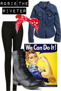 Easy Halloween Costume - Rosie the Riveter. I did this for Halloween Costume Halloween, Fete Halloween, Last Minute Halloween Costumes, Easy Halloween Costumes, Cute Costumes, Halloween Outfits, Holidays Halloween, Simple Costumes, Last Minute Costume Ideas