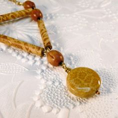 Fossil Coral Wood Rosary Bead Bronze Necklace by heldhighdesigns, $16.00