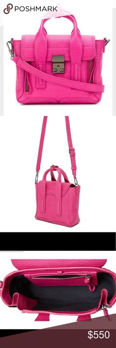 3.1 Phillip Lim Mini Pashli Authentic Pashli Mini Satchel. Color is fuchsia pink. Front zips open to expand the depth, with front button tab. Flat top opens to a lined interior with a slim zip pocket. Can be worn with our without long strap. Can be worn with front zips open or zipped. Measurements: 7in H x 9in L x 3.5in Depth. Strap drop: 22in. Worn a few times. Like new condition!                       •n o  t r a d e s• •s m o k e  f r e e / p e t  f r e e  h o m e•   •s a m e / n e x t  d…