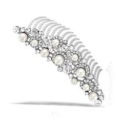 Bling Jewelry Simulated Pearl Rhinestone Bridal Tiara Comb Rhodium Plated * Read more reviews of the product by visiting the link on the image. (This is an affiliate link and I receive a commission for the sales)