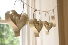 heart garland. made from book pages... genius.