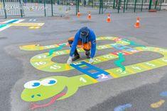 Kids Backyard Playground, Preschool Playground, Backyard For Kids, Backyard Games, School Wall Decoration, Classroom Wall Decor, School Decorations, Playground Painting, Playground Flooring
