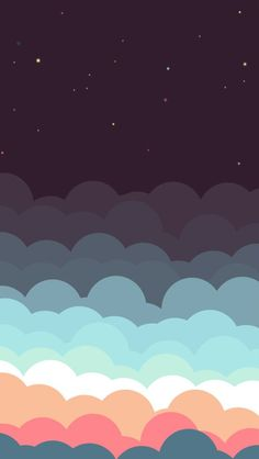 Colorful Clouds And Stars Illustration iPhone 5 Wallpaper / iPod Wallpaper HD…
