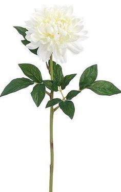 "Dahlia Silk Flower Stem in White - 32"" Tall"