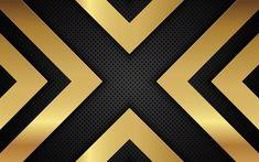 Download wallpapers metal grid, gold metal, lines, X-design, steel texture