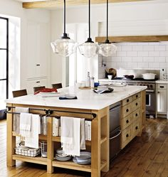Bright, white & wood kitchen; antique beams. Rose City 6in Pendant Classic Schoolhouse Pendant A4527