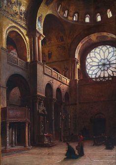 Aleksander Gierymski, <i>Wnętrze bazyliki św. Marka w Wenecji</i>, 1899, olej, płótno