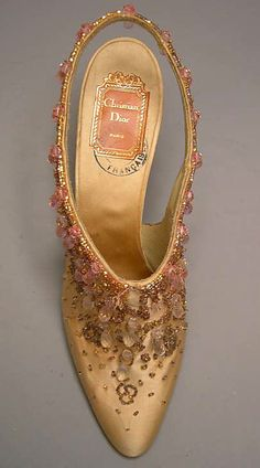 Evening shoes House of Dior  (French, founded 1947) Designer: Roger Vivier (French, 1913–1998) Date: 1954 Culture: French Medium: silk, glass
