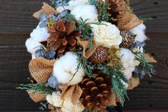 Rustic Winter Wedding Bouquet, Wedding Bouquet, Winter Bouquet, Burlap and Cotton Bouquet, Pinecone Bouquet, Woodland Wedding, Pine Cone on Etsy, $149.30 CAD