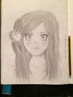 Manga girl with a flower on her head