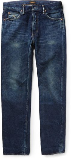 $455, Chimala Slim Fit Selvedge Washed Denim Jeans. Sold by MR PORTER. Click for more info: https://lookastic.com/men/shop_items/329077/redirect