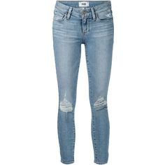 Paige Distressed Skinny Jeans ($229) ❤ liked on Polyvore featuring jeans, pants, bottoms, hosen, blue, destructed jeans, skinny leg jeans, blue jeans, torn jeans and ripped blue jeans