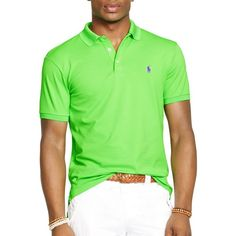 Polo Ralph Lauren Custom Stretch-Mesh Polo Shirt - Slim Fit ($80) ❤ liked on Polyvore