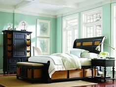 I'm loving this sea foam green paint color! Don't like the black furniture though!