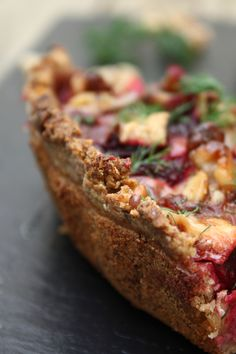 Roasted Beet Tart with Goat Cheese and Walnut Oatmeal Crust