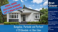We are into the FINAL week of inspection times for this Glen Eden Parkside Bungalow. Come to the Open Home WEDNESDAY 6:30 - 7:00 pm or this weekend at 1:00. Auction is ONSITE 1:00pm this Sunday ! Call me Today to have a private viewing, 021 509 882