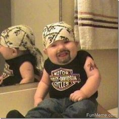 Biker Baby… LOL!  Gail must dress Jaxon like this for halloween...