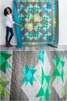 Quilter's Quandary Modern Quilt Kit by Craftsy. Boundless solids quilt kit. Modern star quilt. #modernquilting #starquilt #solidsquilt affiliate link.