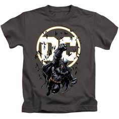 Batman DC Logo Bats Flying Kid's Charcoal T-Shirts