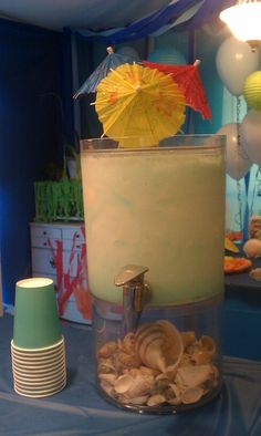 Sea Foam Punch -- Sprite, vanilla ice cream, frozen pina colada mix and blue food color. Will be sea foamy and the kids love it! Under the Sea Birthday Party Success!