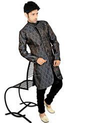 Grey Shot Tone Banarasi Brocade Readymade Indowestern Suit